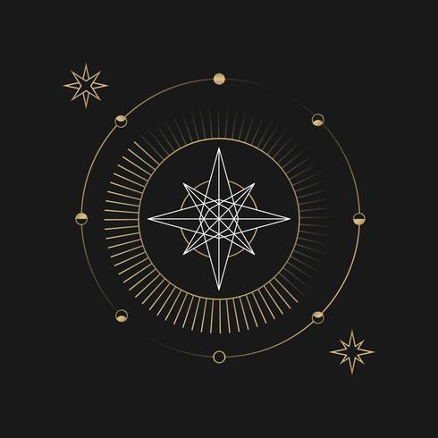 Geometrisk stjärna astrologiskt tarotkort