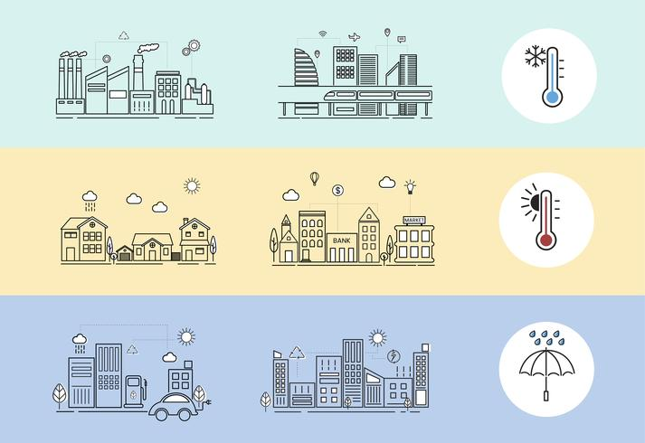 Illustration set of global warming in the city