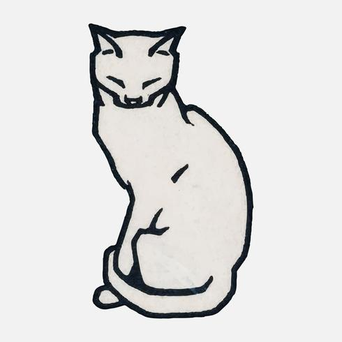 Sitting cat (1916) by Julie de Graag (1877-1924). Original from the Rijks Museum. Digitally enhanced by rawpixel.
