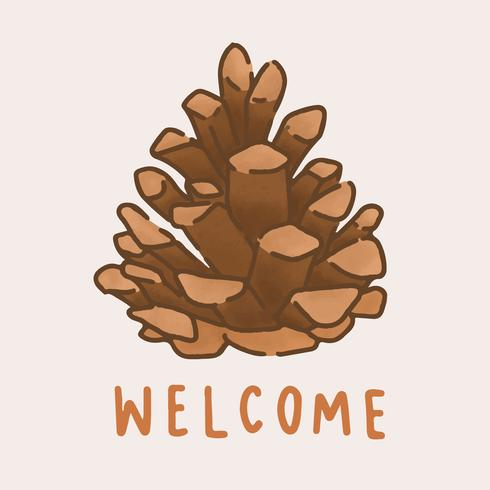 Welcome autumn pinecone illustration vector