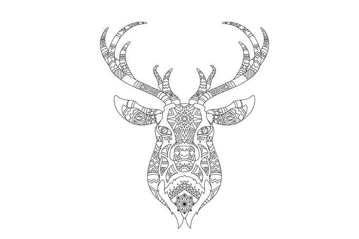 Intricate coloring pattern of a reindeer head