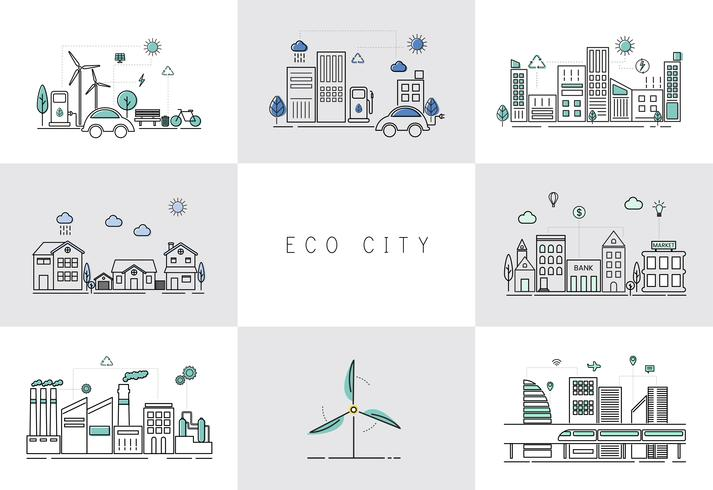 Illustration set of an eco city