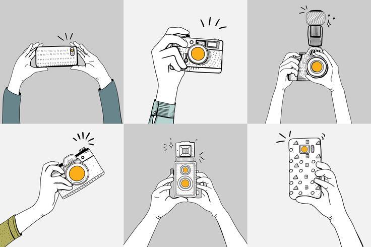Insieme di disegno di mani scattare foto