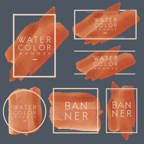 Set of orange watercolor banner design vector