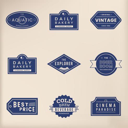 Illustration ensemble d'étiquette emblème de vecteur