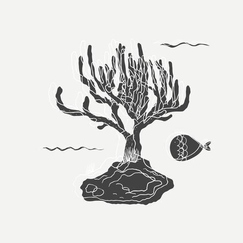 Cartoon drawing of sea plant and fish