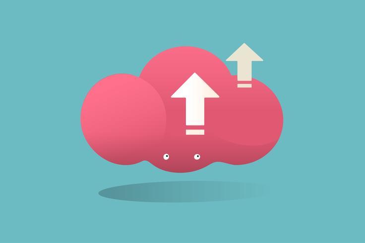 Illustration av molnlagringsvektor på blå bakgrund