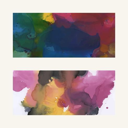Färgrik bläck vattenfärg texturerad bakgrundsuppsättning
