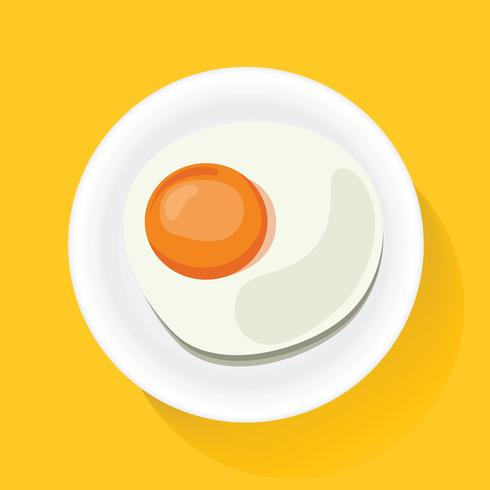 Fried Egg on Plate Breakfast Food Icon Illustration Vector