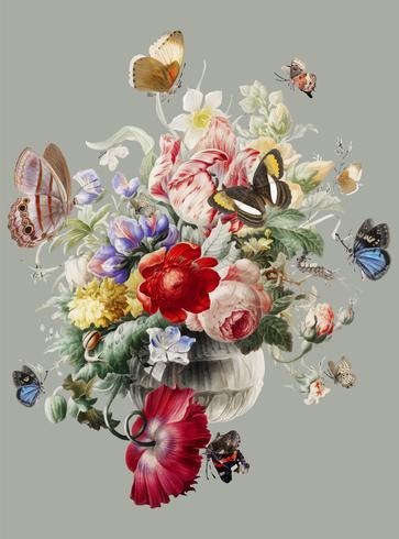 Ilustração Vintage de flores em um vaso de vidro