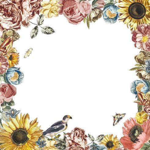 Weinleseillustration eines Rahmens gebildet durch Blumen