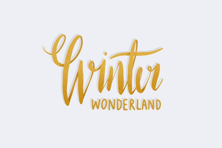 Vinter wonderland vattenfärg typografi vektor