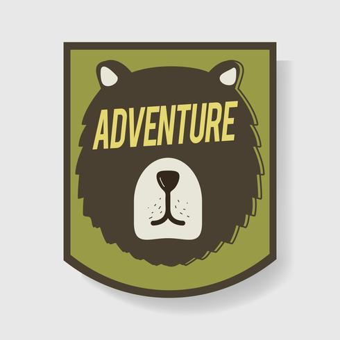 Urso Aventura Crachá Ilustração Gráfica Vetor