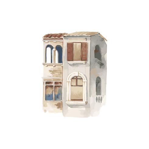 Abbildung der Mittelmeerstadtaußenwasserfarbart
