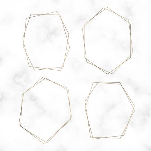 Guld blank hexagon ram vektor uppsättning
