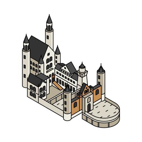 Illustrazione del castello di Neuschwanstein in Germania
