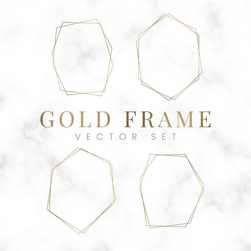 Golden blank hexagon frame vector set