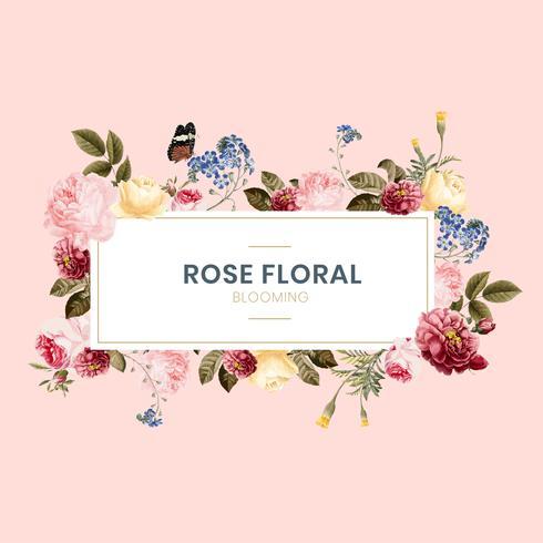 Blooming rose floral frame illustration