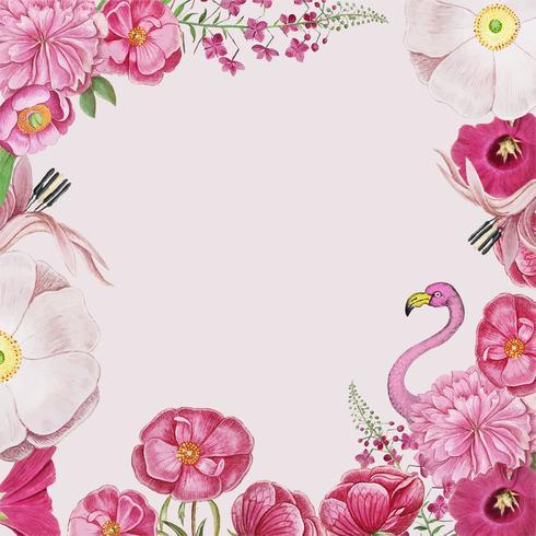 Floral rosa flamingo ram