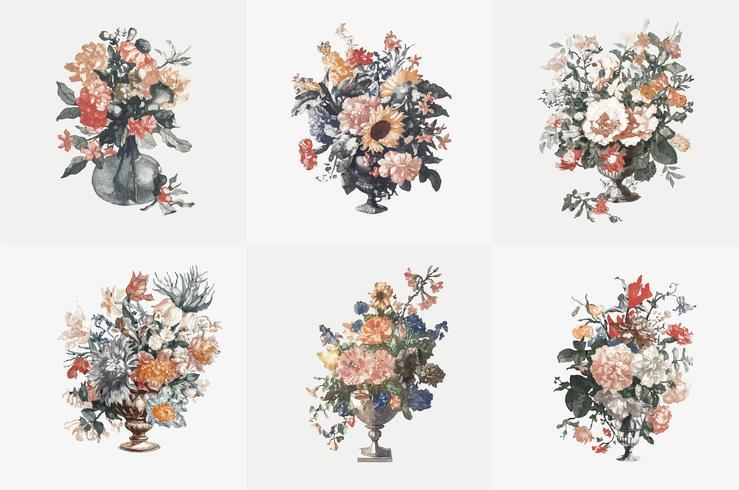 Vintage illustration of set of vases with flowers