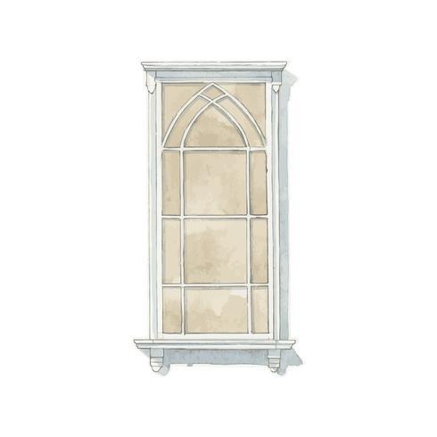 Ilustración del estilo del color de agua de la ventana