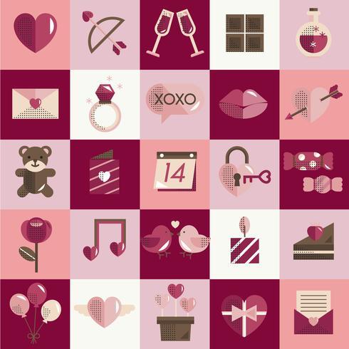 Alla hjärtans ikoner sätta vektor