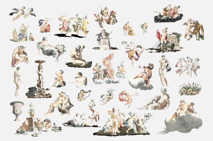 Weinleseillustration von römischen Mythologiefiguren