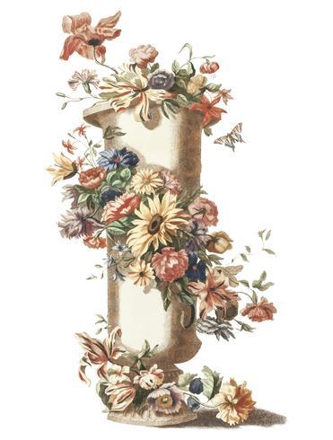 Vintage illustration of a vase with a floral garland