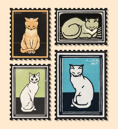 Ilustração do vintage do jogo dos selos com gatos.