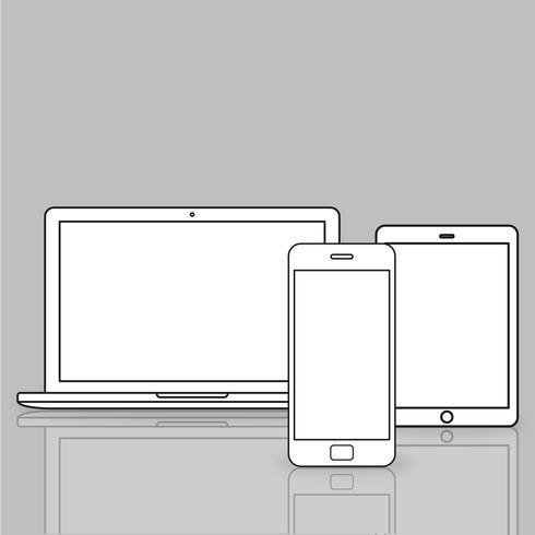 Illustration av digitala enheter isolerade