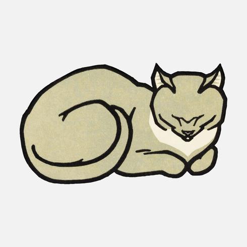 Schlafende Katze (1918) von Julie de Graag (1877-1924). Original aus dem Rijksmuseum. Digital verbessert durch Rawpixel.