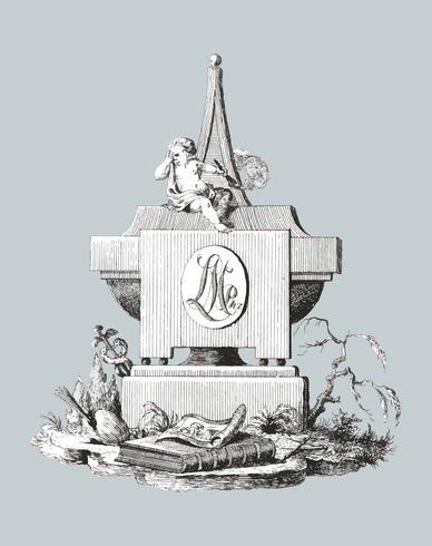 Lapide con angelo funebre (1799) di Jean Bernard (1775-1883). Originale dal Museo Rijks. Miglioramento digitale di rawpixel. vettore