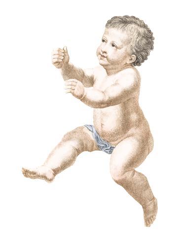 Weinleseillustration eines nackten Kindes