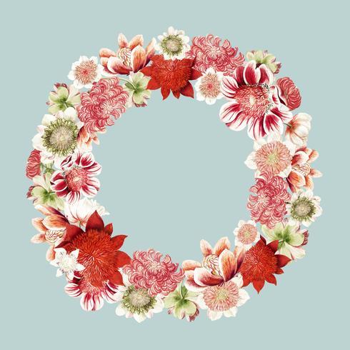 Vintage illustratie van anemoon bloemen gevormd als een krans