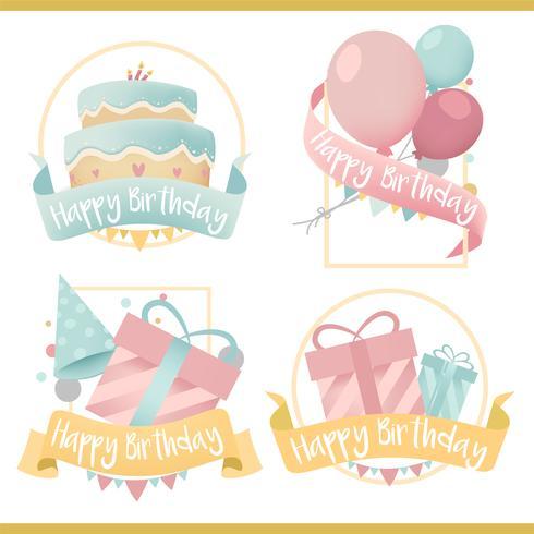 Samling av färgglada födelsedag badge vektorer