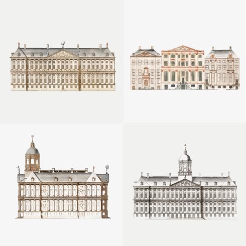 Vintage illustratie van reeks kanaalhuizen in Amsterdamzet van kanaalhuizen in Amsterdam