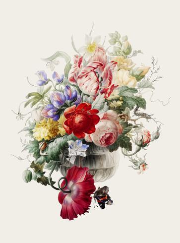 Ilustración vintage de flores en un florero de vidrio