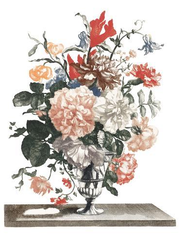 Tappning illustration av en sten vas med blommor