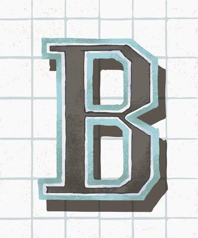 Mayúscula B tipografía vintage estilo