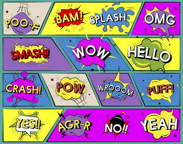 Illustratiereeks grappige woordgrafiek