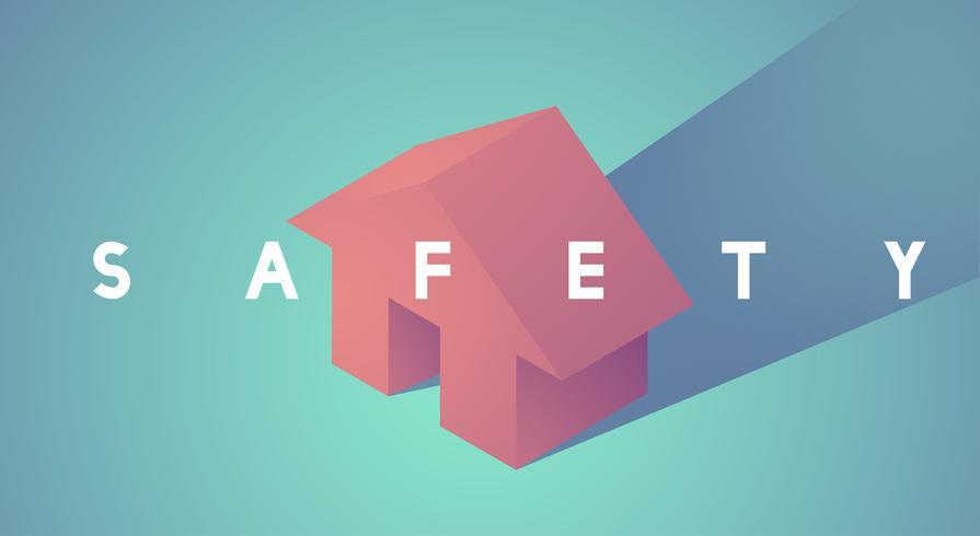 Ilustração, de, casa, seguro
