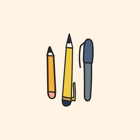 Vetor de estilo de papelaria doodle