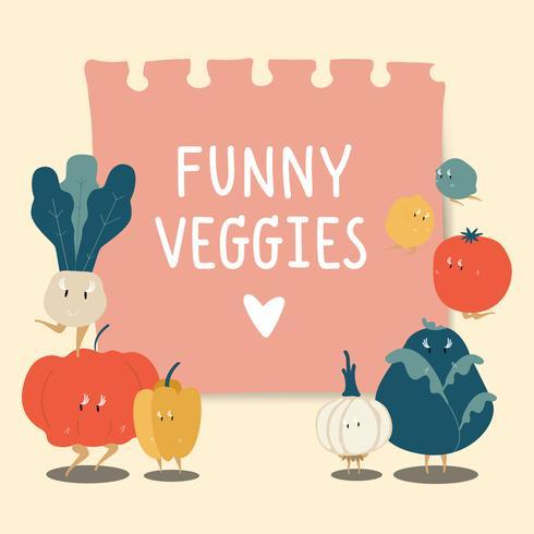 Papieren notitie met grappige groenten vector