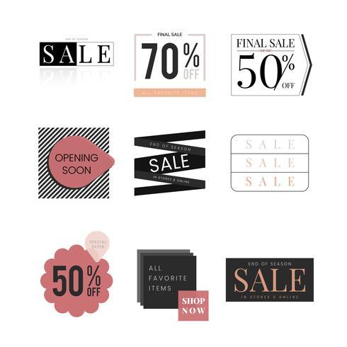Conjunto de modelo de design de promoção de venda
