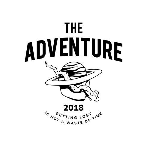 Vintage the adventure text design vector
