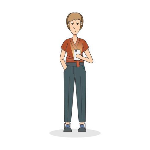 Illustrazione di una donna che tiene un telefono