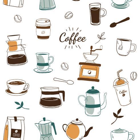 Gemusterter Hintergrundvektor des Kaffeehauses und des Cafés