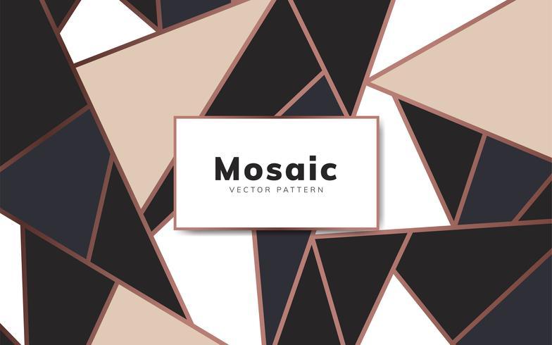 Moderne Mosaiktapete in Roségold, Creme und Schwarz