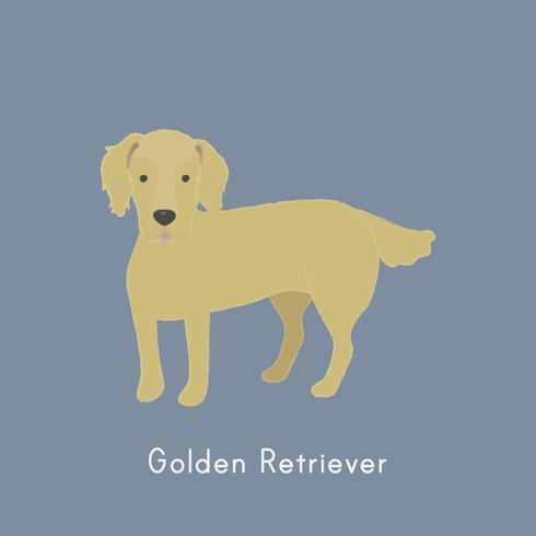 Gullig illustration av en golden retrieverhund