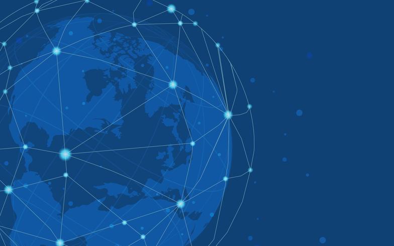 Global anslutning blå bakgrund illustration vektor